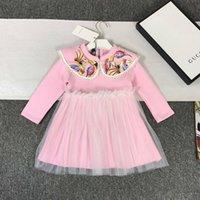 adrette abendkleider großhandel-Mädchenkleider für Kinder Designer-Kleidung 2019 neue einfache Phoenix Stickerei Rock Raumbaumwollmaterial bequem Mädchen Abendkleid