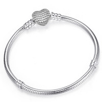 925 Sterling Silver Heart Charms Bracelet Fit Pandora European Beads Jewelry Bangle Real silver Bracelet for Women