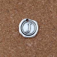 Wholesale r letter silver resale online - 100pcs Antique Silver Single side Letter quot J quot disc Initial r alloy Charms Pendants Fashion DIY Accessories x18 MM A