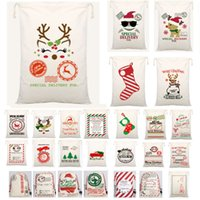 Wholesale Newest Christmas Santa Bags Santa Sack Drawstring Bag Canvas Candy Bags For Kids Gifts For Reindeers Xmas Tree AN2552