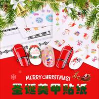 дизайн розовых ногтей оптовых-F650 Рождество шаблон ногтей наклейки 3D Снежинка Снеговик Star Laser Блеск ногтей Передача Фольга украшения Маникюр