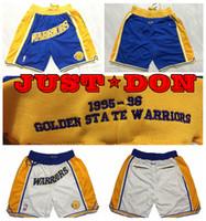 золотые имена оптовых-Мужские Just Don шорты сшитые золотые 1995-96 State Warrior Название команды Just Don Brand Баскетбольные шорты Сшитые дышащие спортивные шорты