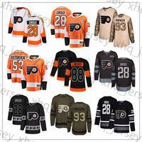 Wholesale hockey flyer for sale - Group buy Custom Philadelphia Flyers Jerseys Eric Lindros Claude Giroux Ivan Provorov Gostisbehere Voracek Konecny USA Flag Hockey Jersey