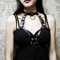 Wholesale goth ring belt resale online - 2018 New Fashion Goth Women Chest O Ring Studded Strap Garter Belt Cage Bondage Lingerie Bust Bra Black Leather Punk Jewelry