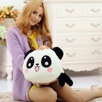dev dolgun peluş dolması toptan satış-Kawaii Peluş Bebek Oyuncak Hayvan Dev Panda Yastık Dolması Bolster Hediye 20 cm