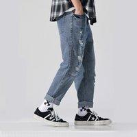 große menfotos großhandel-Jeans Street Photo Mast und große Jeans Fashion Men Do Old Color Washed Weiß Lose High-End-Qualität Y19072301