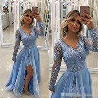 Wholesale little baby jacket resale online - Vintage V Neck Pearls Lace Appliques Baby Blue Evening Dresses Long Sleeves With Detachable Skirt And Pearl Sash formal Prom Gowns