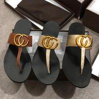 kadın tanga sandaletler toptan satış-Deri Tanga Sandalet Kadınlar Lüks Desinger Terlik Moda Ince Siyah Çevirme Marka Ayakkabı Ladie Bej Ayakkabı Sandalet Palet GGShoes