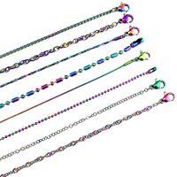 ingrosso regalo di scelta delle ragazze-Colore dell'arcobaleno Più scelta Altro Stile Collana a catena in acciaio inossidabile Link Creazione di gioielli per gioielli fai da te Accessorio Regalo per ragazza