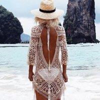 ingrosso maglietta da spiaggia bikini-Summer Women Mesh Cover Up Maglia lavorata all'uncinetto Sexy Beach T-Shirt da bagno Bikini Wrap Bathing Suit