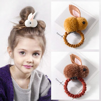 Wholesale rabbit hair clips resale online - 3D Rabbit Hairbands Ponytail Holder Rope Kids Girls Lovely Rabbit Hair Clips Women Creative Cute Headdress HHA680