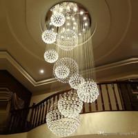 accesorios de iluminación del vestíbulo del hotel al por mayor-Lámpara moderna lámpara de cristal grande para el vestíbulo Escaleras Escalera Foyer Largo Espiral Lustre Lámpara de techo Escalera montada al ras Luz