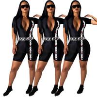strampelhöschen großhandel-Damen Kurzarm Strampler Designer Jumpsuits sexy schlank Playsuit Mode bequeme Nacht tragen elegante atmungsaktive Overall