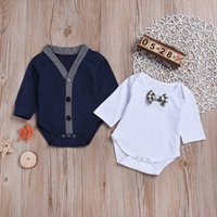 caballero abrigo niño al por mayor-Niños ropa niños 2 UNIDS Bebé de manga larga Gentleman Coat Romper + Bowknot Jumpsuit Set Outfit Ropa de invierno para bebé roupas