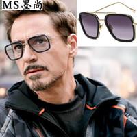 iron großhandel-Iron Man Herren Sonnenbrille Downey mit Brille Avengers Hochwertige Designer Sonnenbrille