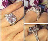 joyas de plata esterlina rosa anillo al por mayor-Joyería 925 plata esterlina Cushion forma Pink Zafiro CZ Diamond anillo anillo de boda para mujeres GifT