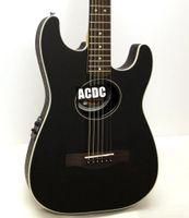 guitare électrique noir vintage achat en gros de-Top en acajou massif ST Stratacoustic Standard Black Acoustic Guitare Rosette en damier, chevalet palissandre, accordeur vintage