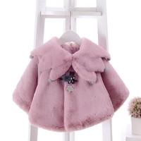 châle de style coréen achat en gros de-Bébé Poncho Cape Hiver Fille Veste Manteaux Enfants Châle Outwear Style Coréen Enfants Manteau Veste pour 0 ~ 2Y