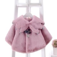 ingrosso lo scialle coreano di stile-Giacca poncho invernale per bambina mantello Cappotto per bambini Scialle Capispalla Giacca per mantello per bambini in stile coreano per 0 ~ 2Y