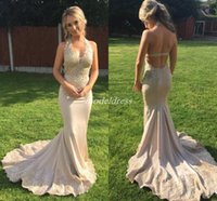 Wholesale black special occasion dresses plus size online - Halter Champagne Mermaid Prom Dresses Backless Sweep Train Appliques Long Formal Evening Party Gowns Special Occasion Dress Cheap