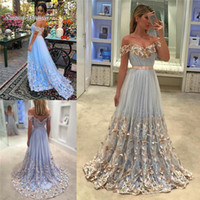Wholesale butterfly bride dresses for sale - 3D Butterfly A Line Appliques Prom Dresses Off Shoulder Formal Dress Custom Made Tulle Bride Party Gowns