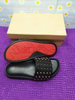 Wholesale cow leather men sandals for sale - Group buy 2019 Men sandals top fashion women Casual red bottom slipper brand Male shoe High quality cow leather man genuine leather shoes with box