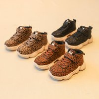 Wholesale wholesale children shoes online - Children Leopard Sneakers Colors Autumn Winter Kids Plush Shoes Fashion Girls Leopard Printed Running Shoes Slip On Loafers OOA6027