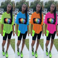 Wholesale women s sheer t shirt for sale – custom Rainbow Lips Women Shorts Set Sheer Mesh Tracksuit Short Sleeve T shirt Shorts Piece Sports Jogger Suits Outfits Sportswear C41603
