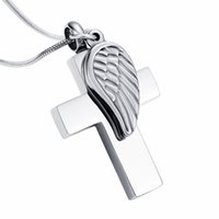 Wholesale 18k angel pendant for sale - Group buy IJD12239 Angel Wing Charm Cross Cremation Jewelry For Ashes For Human Pet Memorial Urn Pendant Engravable Necklace Free Funnel