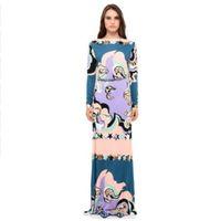 xxl maxi vestidos mangas al por mayor-Nuevo Epucci Designer Luxury Maxi Dress Mujer manga larga Colorfu Geometría Imprimir XXL Stretch Jersey de seda Spandex largo Vestido
