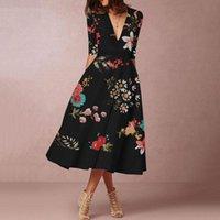 ingrosso più abbigliamento boemo-le donne vestono plus size xxxl Bohemian Floral V-Neck party dress vestidos Estate elegante abbigliamento donna abito vintage