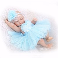 Wholesale full figured clothes online - Reborn Baby Doll Baby Bath Toy Full Silicone Body Eyes Close Sleeping Baby doll With Clothes inch cm Lifelike Cute Gifts Toy Girl