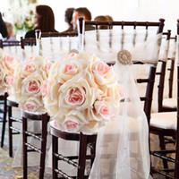 bolinhas de casamento de seda rosa venda por atacado-5 Pçs / lote Bolas De Flor De Seda Artificial Rose Centerpiece Pomander Bouquet para Decoração de Festa de Casamento Bola de Flores Falsas