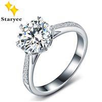anéis de casamento ouro branco puro venda por atacado-Certificado de Um Carat Para Sempre Um Moissanite Jóias Pure 18 k White Gold Diamante Natural Mulheres Anéis De Noivado Casamento Y19052301