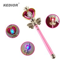 Wholesale anime wand resale online - 2017 New Girl Toys Anime Cosplay Sailor Moon Wand Henshin Rod Glow Stick Spiral Heart Moon Rod Musical Magic Wand