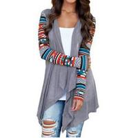 ingrosso cardigan stampato-Cardigan Donna Autunno Stampa Floreale Manica Lunga Irregolare Wrap Kimono Cardigan Cappotto Casuale Coverup Top Outwear Plus Size S-5xl