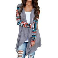 bedruckte wolljacke großhandel-Strickjacke Frauen Herbst Blumendruck Langarm Unregelmäßige Wrap Kimono Strickjacken Casual Vertuschungsmantel Tops Outwear Plus Größe S-5xl