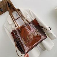 bolsas de asas transparentes para mujeres al por mayor-Asa superior Bolsas para mujeres grandes Borrar bolsas de mano de las mujeres bolsos de lujo diseñador de la mano transparente # H30