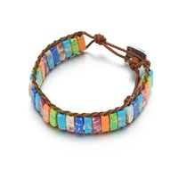 pulseira de jaspe venda por atacado-Pulseira De Pedra colorida Bohemian Wrist Imperial Jasper Pulseiras Ajustáveis Chakra Bead Bracelet para Meninas Mulheres Favor