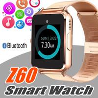 ios için akıllı duvar kağıdı toptan satış-Bluetooth Akıllı Izle Z60 Smartwatches Paslanmaz Akıllı Bilezik Android IOS Cep Telefonları için SIM Kart Kamera ile Perakende Kutusu ile