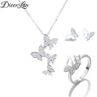 14k kelebek yüzük toptan satış-DIEERLAN Boho Rhinestone Takı Setleri 925 Ayar Gümüş Uzun Zincir Kelebek Küpe Kolye Yüzükler Lady Düğün Gelin için