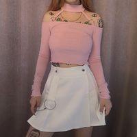 Wholesale cute hot pink shirts resale online - Harajuku cute pink strapless crop top ladies T shirt hot summer autumn elegant ruffled casual slim T shirt Mujer