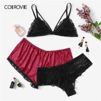 6358ed3069 wholesale Plus Size Lace Sexy Lingerie Set With Satin Shorts 3pack 2019  Spring Fashion Wireless Intimates Underwear Bra Set