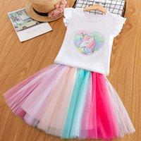 niños arco iris t shirts al por mayor-Niñas bebés Unicornio Trajes Vestido para niños Camisetas + TuTu Rainbow Faldas 2 unids / set 2019 Boutique de Moda de Verano Vestido de Niños Ropa 7 estilos