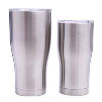 caneca inoxidável da parede dobro venda por atacado-Copos curvos de aço inoxidável 30OZ 20OZ parede dupla forma de cintura a vácuo copos de água isolamento canecas de café cerveja MMA1908