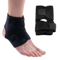 elastik ayak dirseği toptan satış-Yüksek Kaliteli Açık Spor Siyah Ayarlanabilir Ayak Bileği Ayak Bileği Desteği Elastik Brace Guard Futbol Basketbol Ekipmanları