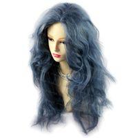 cabelo cinza sexy venda por atacado-Romântico Sexy Selvagem Untamed Longo Encaracolado Peruca Cinza Azul Cabelo Senhoras Perucas WIWIGS