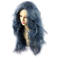 ingrosso parrucca riccia riccia lunga blu-Romantico Sexy Wild Untamed Long Curly Wig Parrucche per capelli grigi capelli blu WIWIGS