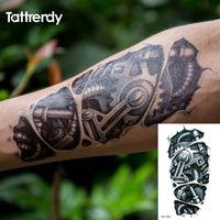 ingrosso adesivo temporaneo del tatuaggio dello spruzzo-Tatuaggi temporanei 3d nero robot braccio meccanico trasferimento falso adesivi tatuaggio hot sexy uomini freddi spray disegni impermeabili c058 t190628
