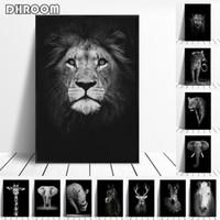 elefanten malerei leinwand großhandel-Leinwand Malerei Tier Wandkunst Lion Elephant Deer Zebra Poster und Drucke Wandbilder für Wohnzimmer Dekoration Wohnkultur